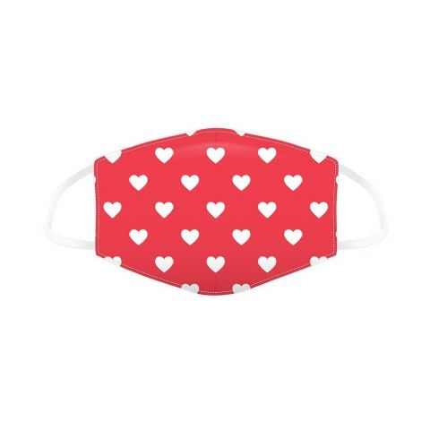 Hearts Red Reusable Adult Face Covering Washable 2 Layer Soft Mask